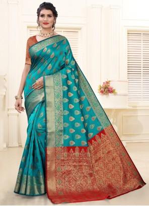 Blue Weaving Silk Festival Traditional Saree