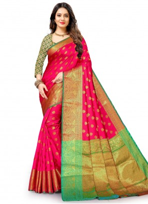 Weaving Silk Traditional Saree in Pink