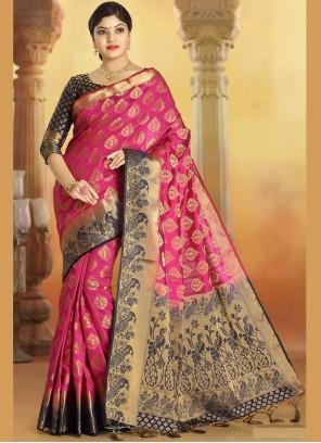 Weaving Silk Pink Trendy Saree