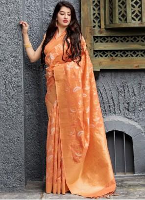 Weaving Silk Trendy Saree in Orange