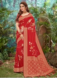 Weaving Silk Trendy Saree in Red