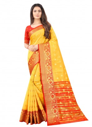 Weaving Silk Yellow Designer Traditional Saree