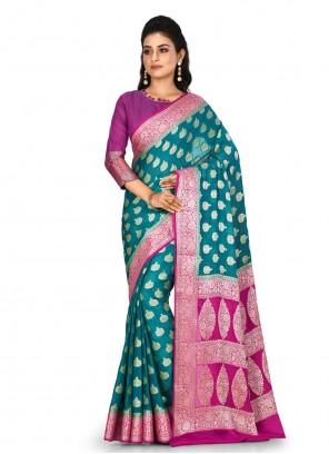 Weaving Teal Contemporary Saree