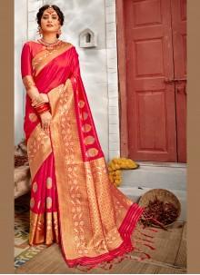 Weaving Hot Pink Traditional Designer Saree