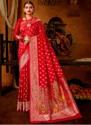 Weaving Traditional Red Designer Saree
