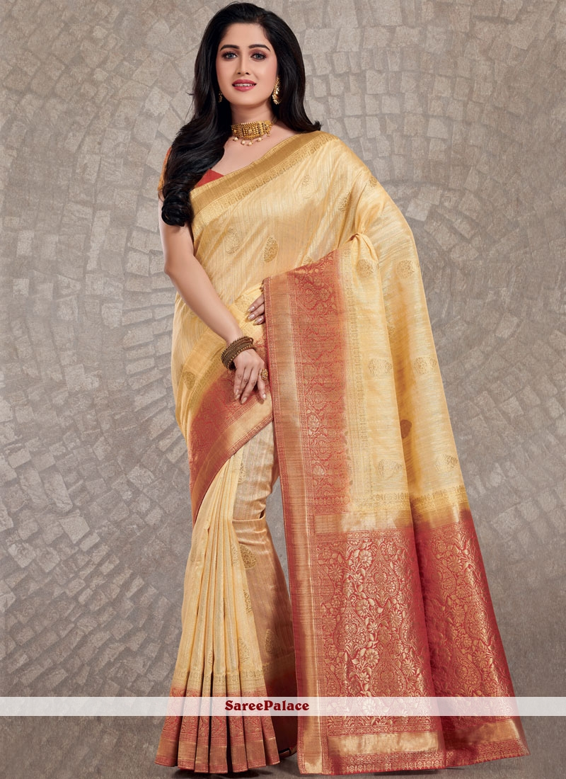 Cream Silk Weaving Traditional Designer Saree