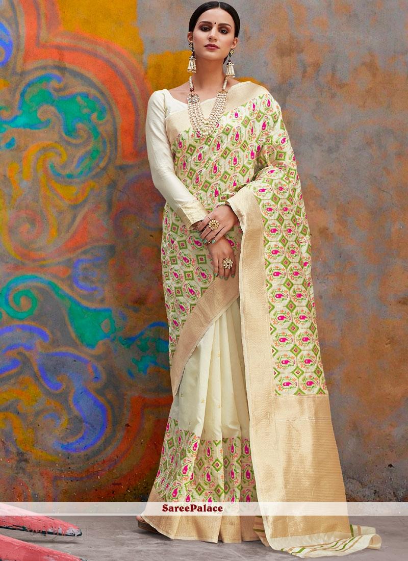 cc7fa2b1fbc52 Buy White Weaving Traditional Saree Online