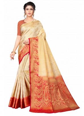 Cream And Red Weaving Banarasi Silk Traditional Saree