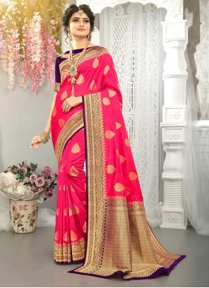 Fuchsia Weaving Traditional Saree