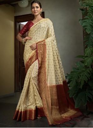 Raw Silk Weaving Cream Traditional Saree