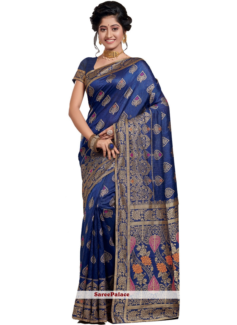 Blue Weaving Traditional Saree