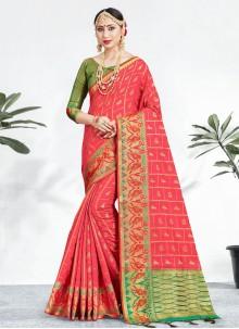 Weaving Trendy Pink Saree
