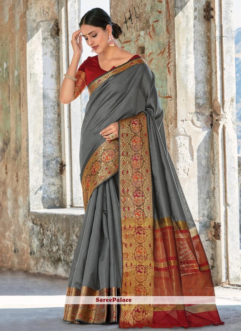 Weaving Grey Trendy Saree