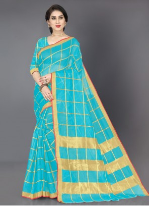 Weaving Turquoise Casual Saree