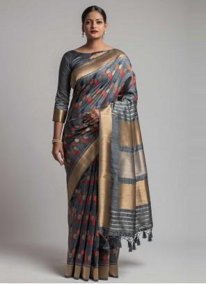 Weaving Tussar Silk Grey Traditional Designer Saree