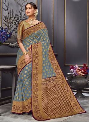Weaving Tussar Silk Traditional Designer Saree