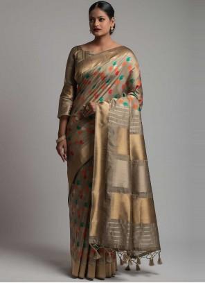 Weaving Tussar Silk Traditional Saree