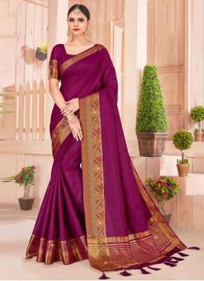 Weaving Violet Silk Designer Saree
