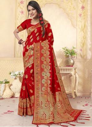 Weaving Wedding Classic Red Saree
