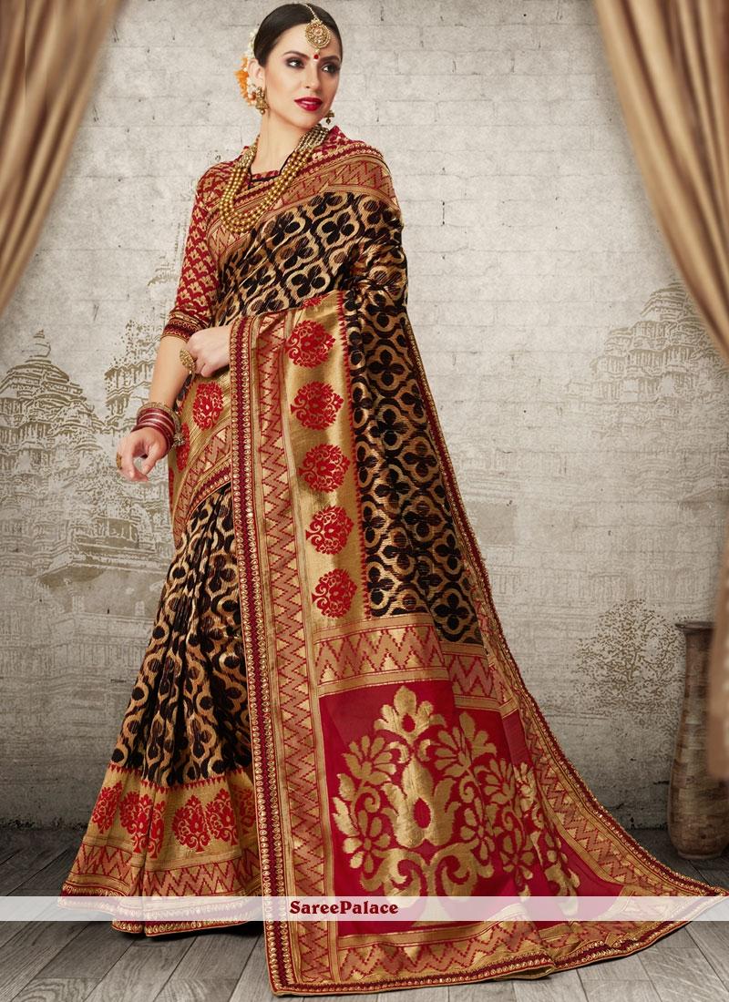 Black Weaving Wedding Designer Traditional Saree