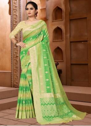 Weaving Wedding Designer Green Traditional Saree