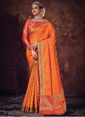 Weaving Wedding Orange Traditional Designer Saree