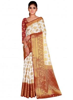 Weaving White Nylon Designer Saree
