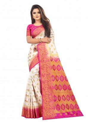 Weaving White Silk Designer Saree