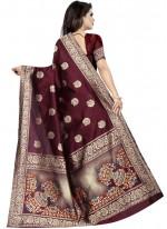 Weaving Wine Art Silk Traditional Designer Saree