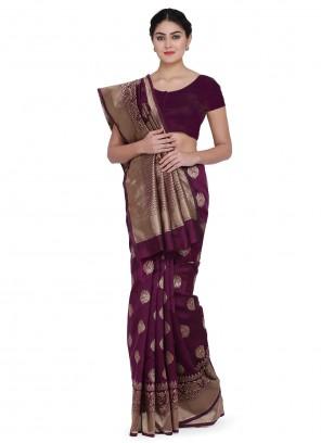 Weaving Wine Designer Traditional Saree