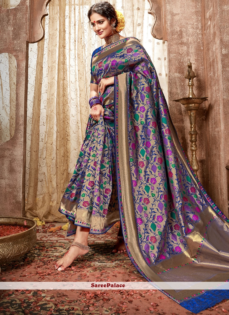 48500e12d9 Buy Weaving Work Blue Banarasi Silk Traditional Designer Saree Online