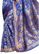 Weaving Work Blue Classic Designer Saree