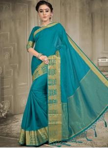 Blue Weaving Work Designer Saree