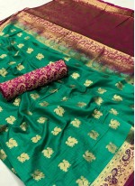 Weaving Work Green Art Silk Designer Traditional Saree