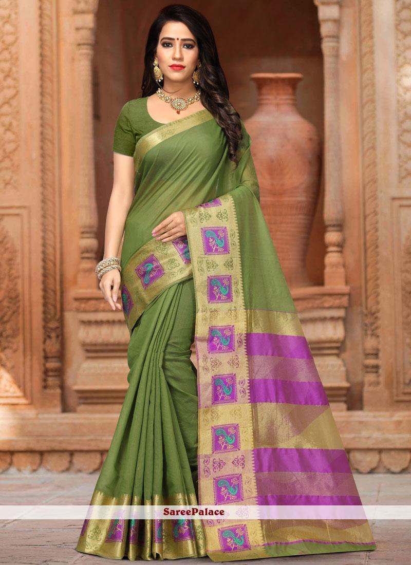 Weaving Work Green Designer Traditional Saree