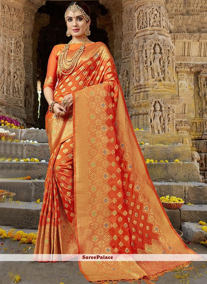 Weaving Work Orange Art Silk Designer Traditional Saree