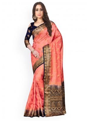 Weaving Work Peach Kanchipuram silk Classic Saree