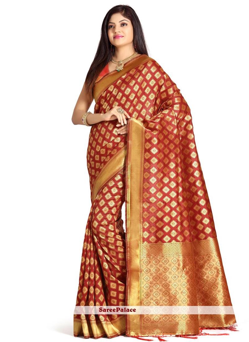 Weaving Work Red Designer Traditional Saree