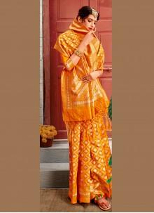 Weaving Yellow Banarasi Silk Designer Traditional Saree