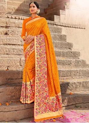 Weaving Yellow Classic Saree