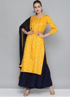 Weaving Yellow Designer Kurti