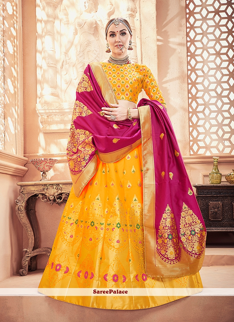 Weaving Yellow Designer Lehenga Choli