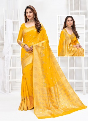 Weaving Yellow Designer Traditional Saree