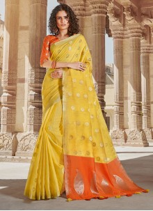 Weaving Yellow Linen Classic Saree