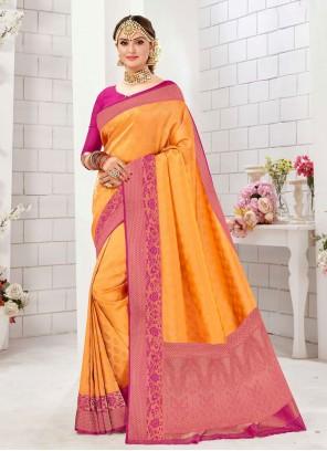 Weaving Yellow Saree