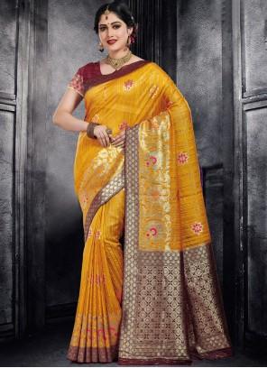 Weaving Yellow Silk Designer Saree