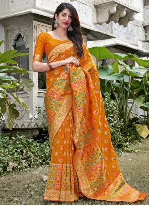 Weaving Yellow Silk Traditional Saree