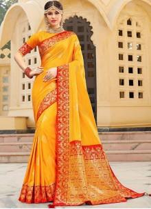 Weaving Yellow Silk Trendy Saree