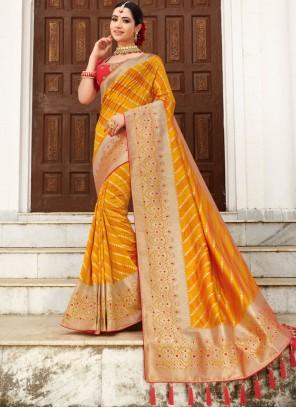 Weaving Yellow Traditional Designer Saree