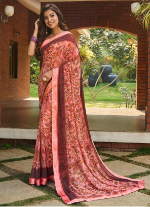 Weight Less Abstract Print Multi Colour Saree